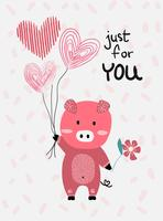 love card  vector flat design hand drawn love card  vector pink pig hold heart balloons