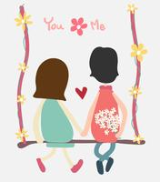 vector couple sit on swing holding handand flower