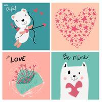 Vintage Pastell Liebes-Valentinsgrußkarte