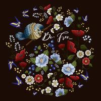 Motif floral coloré de broderie