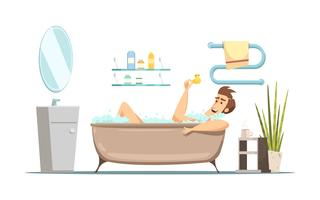 Man Taking Bath In Bathroom