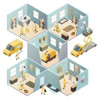 Isometric Industrial Cleaning Colored Composition