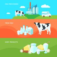 Productos lácteos de la granja de leche.