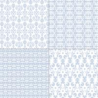 padrões de damasco azul e branco pastel