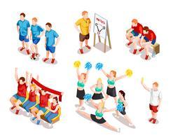 Conjunto de personajes de deportista