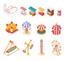 Amusement Park Isometric Cartoon Icons Set