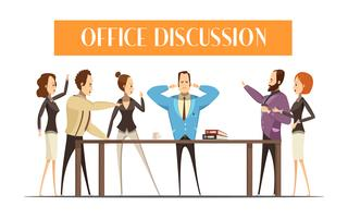 Office Discussion Cartoon Style Illustration