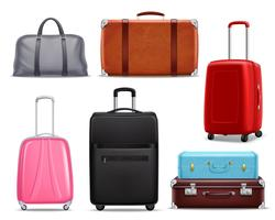 Modern Retro Travel Bagage Realistisk Set