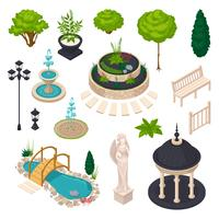 Elementos isométricos para construtor de paisagem da cidade