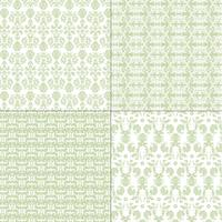 pastel green and white damask patterns