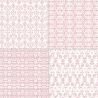 padrões de damasco rosa e branco pastel