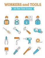 Workers and tools icons