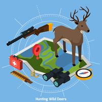 Hunting Isometric Concept vector