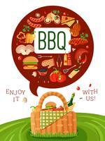 Cartel de invitación plana de picnic de barbacoa