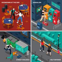 Hooliganism Isometric Compositions vector