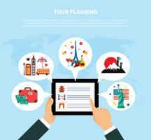 Concepto de diseño de planificación de viaje