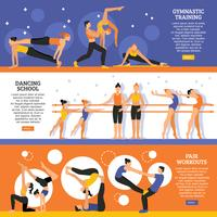 Dance And Gymnastic Training Banners Set vector