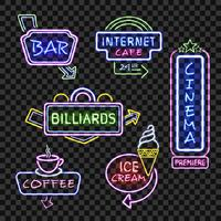 Neon signs on transparent background