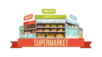 Supermarket Display Stand Retro Composition Poster