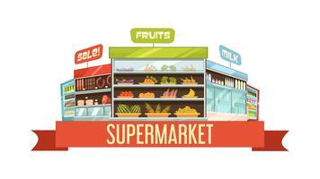 Cartaz de composição retrô de carrinho de exposição de supermercado