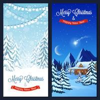 Banners verticales de paisaje de invierno