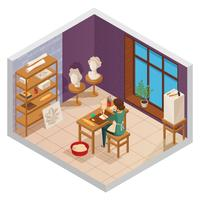 Scuplting Studio Isometric Composition
