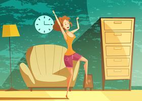 Chica bailando solo cartel de dibujos animados vector