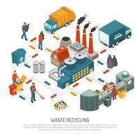 Concept de recyclage des déchets isométrique