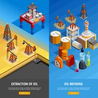 Oil Industry Isometric Webpage Banners Set  vector