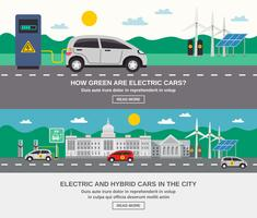 Electric Car City 2 Flat Banners  vector