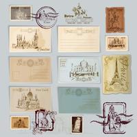 Conjunto de postais vintage