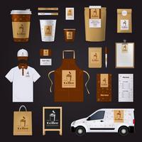 set di progettazione di identità aziendale di caffè
