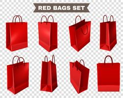 Red Shopping Bags Set