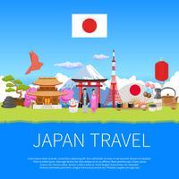 Cartel de publicidad de composición plana de viajes de Japón