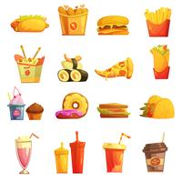 Comida rápida Retro Cartoon Icons Set