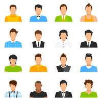 Conjunto de iconos de avatar de hombre