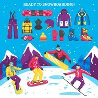 Ilustração vetorial de snowboard
