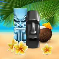 Kahuna Hawaiian Beach Composition vector