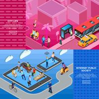 People Isometric Banners