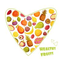Fruits Heart Shape Retro Style Advertisement
