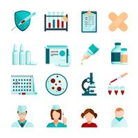 Conjunto de ícones plana de vacinação