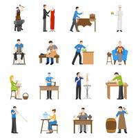 Iconos de artesanos planos