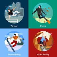 Extreme Sports People 2x2 Icons Set