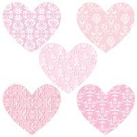 rosa damastast hjärtor