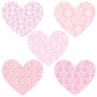pink damask hearts