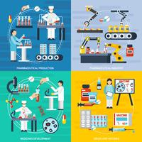 Pharmaceutical Production Concept Icons Set