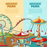 Banners verticais de parque de diversões vetor