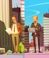 Due uomini d'affari al grande sfondo della città