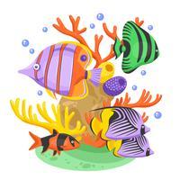 Ilustración de peces tropicales exóticos
