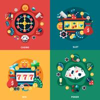 Casino Games Flat Icons Square Composition